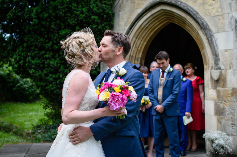York Wedding photography, the first kiss