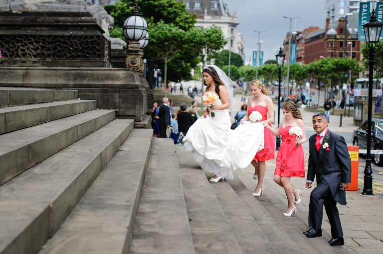 Wedding party arriving to the Leeds Town Hall.