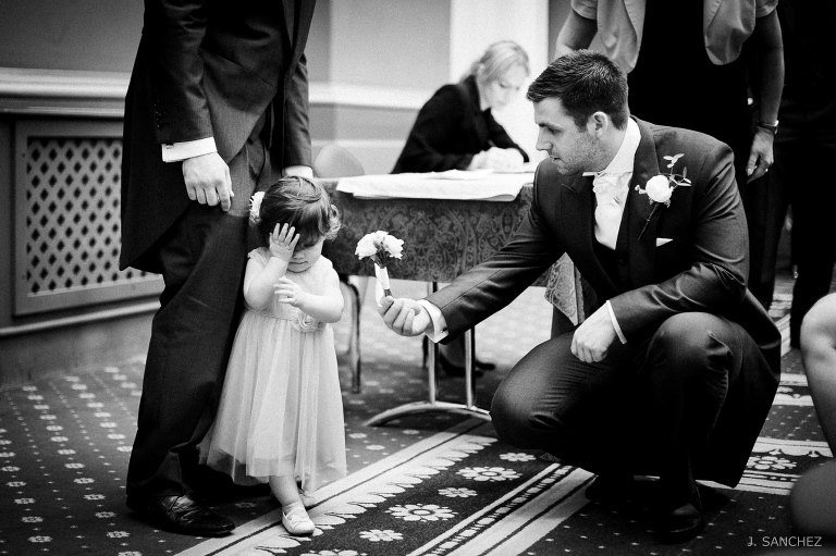 The Groom and the flower girl at the Town Hall in Leeds
