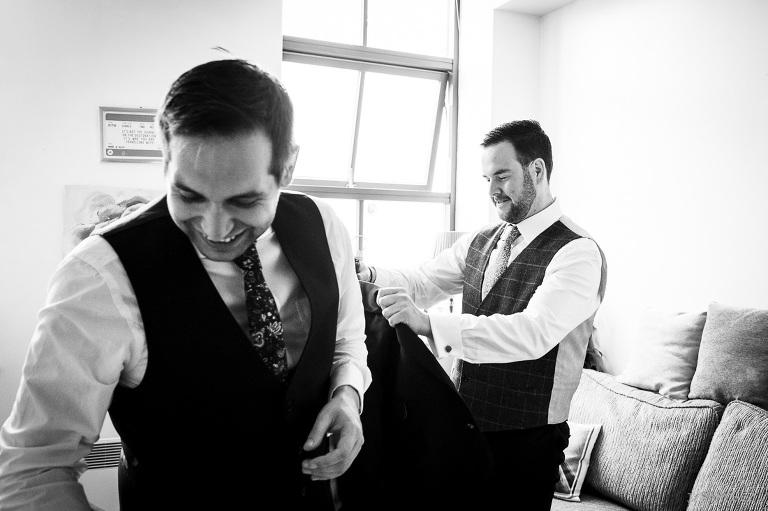 The groom dressing