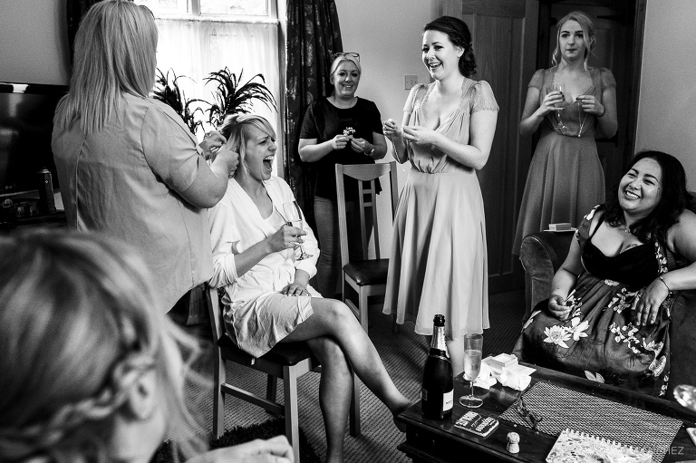 The bride, Bridesmaids and family getting ready.