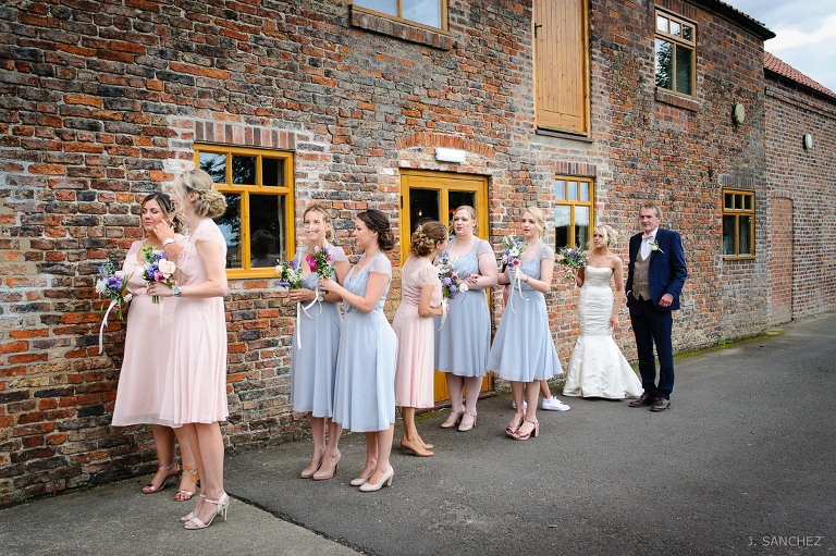 The wedding party at Barmbyfields Barns