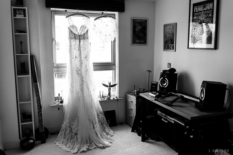 Wedding dress at the bride's house